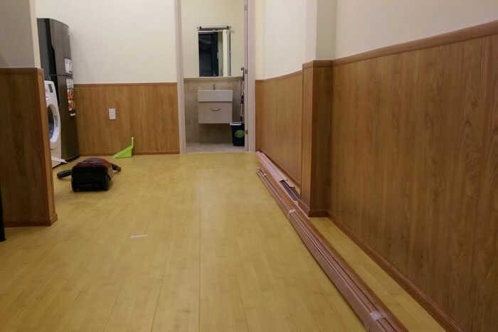 Tấm sàn nhựa ốp tường vân gỗ
